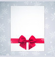 realistic bow and ribbon on winter vector image