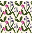 Seamless spring plants pattern vector image