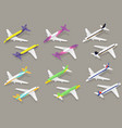 white passenger airplane color icon set isometric vector image