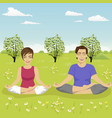 young couple doing yoga exercise in park in summer vector image