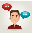 man talk chat bubble isolated vector image
