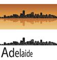 Adelaide skyline in orange background vector image