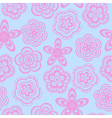 Seamless background pattern of pink lace flowers vector image