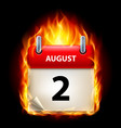 Second august in calendar burning icon on black vector image
