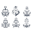 Marine themed ships anchor icons with ribbons vector image