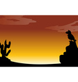 Silhouette desert vector image vector image