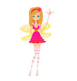beautiful fairy with magic wand graphic vector image