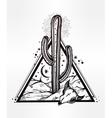 Hand drawn romantic beautiful desert landscape vector image