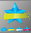 set of blue stars with ribbons collection for vector image vector image
