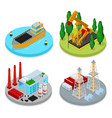 isometric gas and oil industry industrial plant vector image