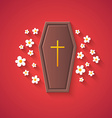 Grave and Flowers  Funny Halloween Carton with Lon vector image