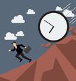 Businessman running away from clock attack vector image