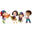 Children with domestic animals vector image