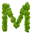 Letter M of green leaves alphabet vector image vector image