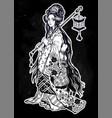 beautiful geisha ornate kimono costume lantern vector image
