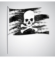 Black pirate flag grunge style with skull eps10 vector image