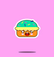 cake macaron smile cartoon face food kawaii flat vector image