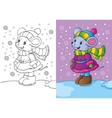 Coloring Book Of Mouse Dressed In Winter Clothes vector image