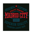 madrid city sport t-shirt design vector image