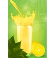Pouring juice into a glass on a green background vector image
