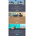 Set of Office Interior Web Banners in Flat Design vector image