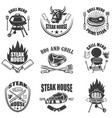 set of steak house labels bbq and grill design vector image