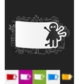 voodoo Doll paper sticker with hand drawn elements vector image