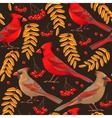 Seamless cardinal and rowan vector image