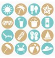 white icons summer beach vector image