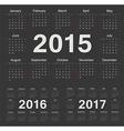 European circle calendars 2015 2016 2017 vector image