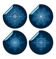 four highly detailed blue snowflake stickers vector image