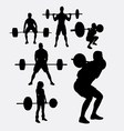 lifting weights sporyt silhouette vector image