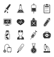 Healthcare Black White Icons Set vector image