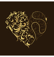 Floral ornament golden heart shape for your design vector image