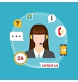 Female call center avatar icon with service icons vector image