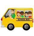 multiracial school kids riding a schoolbus vector image