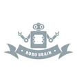 robot brain logo simple gray style vector image