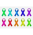 Set of colorful awareness ribbons isolated on vector image