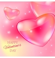 Valentine s day card with glass hearts and lights vector image