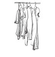wardrobe sketch clothes on the hangers hand vector image