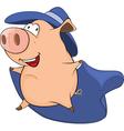 Cute Pig in Superhero Costume vector image