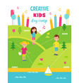 summer creative art camp for kids poster template vector image vector image