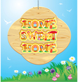 Wooden Frame with Home sweet home Words on sky ba vector image vector image