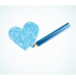 The blue heart not finished by a pencil vector image vector image