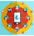 Social network flat with avatars earth mobile vector image