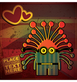 Monster with heart on grunge color background vector image vector image