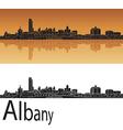 Albany skyline in orange background vector image