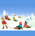 Children on a sled vector image