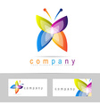 Colored butterfly icon logo vector image