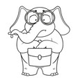 elephant nerd with glasses holding a briefcase vector image